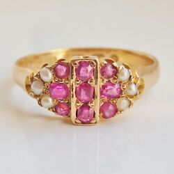 Fine Antique Victorian 15ct Gold Ruby And Pearl Cluster Ring C1874 Size 'm 1/2'
