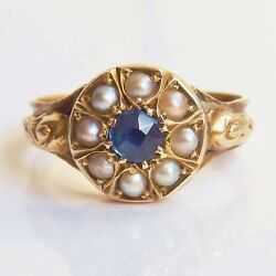 Stunning Antique Victorian 9ct Gold Sapphire And Pearl Cluster Ring C1875