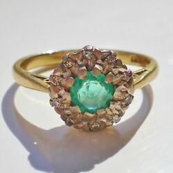 Stunning Antique Edwardian 18ct Gold Emerald And Diamond Cluster Ring C1910