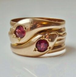 Stunning Antique 9ct Rose Gold Garnet Double Headed Entwined Snakes Ring C1919