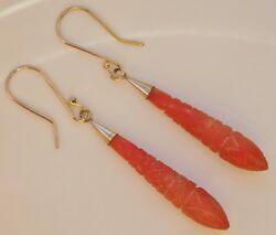 Rare Antique Georgian 9ct Gold Carved Coral Torpedo Drop Earrings C1800