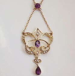 Stunning Antique Edwardian 9ct Gold Amethyst And Pearl Pendant Necklace C1910