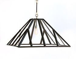 Chandelier Vintage Greenhouse Hand-made Upcycled Glass Metal Square 1-l