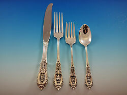 Rose Point By Wallace Sterling Silver Flatware Set For 8 Service 41 Pcs Dinner