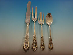 Rose Point By Wallace Sterling Silver Flatware Set 8 Service 32 Pcs Dinner Size