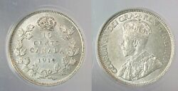 1919 Canada Canadian Ten Cents Dime Anacs Certified Au 55 Almost Uncirculated