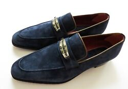 Stefano Ricci Navy Blue Suede Brown Piping Shoes Loafers Size 12 Us 45 Eu 11 Uk