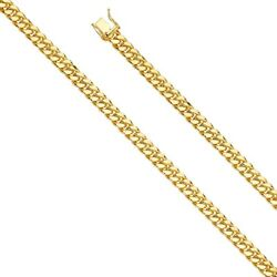 14k Yellow Gold 8-mm Wide Hollow Miami Cuban Chain