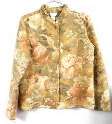 Coldwater Creek Tapestry Jacket Coat Light Green Floral S Acrylic Blend