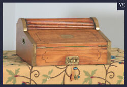 Antique Victorian Colonial Camphor Wood And Brass Rolltop Metamorphic Writing Box