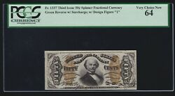 Us 50c Fractional Currency Spinner W/ And0391and039 Fr 1337 Pcgs 64 Ch Cu -022