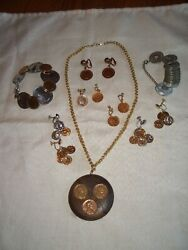 Vintage Lot Coin Jewelry Pendant Necklace, Bracelet, And Earrings Costume