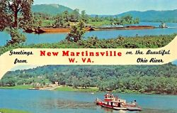 New Martinsville Wvon The Beautiful Ohio Rvrsplit View Greetings From Postcard