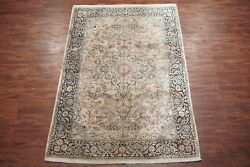 Vintage 6x9 Kashmir Hand-knotted Silk Area Rug 1970and039s Oriental Carpet 6 X 9.1