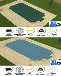 Gli Valuex Solid Grecian Swimming Pool Safety Cover W/ Center End Step And Pump