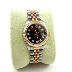 Ladies 18k Rose Gold and Diamond Rolex Datejust Serial # D176448