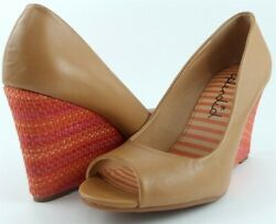 $120 SPLENDID DERBY Caramel Leather Designer Shoes Open Toe Wedge Pumps Heels 7 $44.99