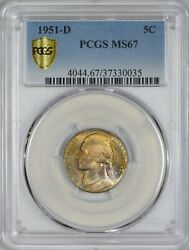 1951 D Jefferson Nickel Pcgs Ms67 - Top Pop Pcgs Coinfacts Plate Coin.