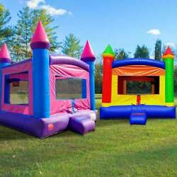 Inflatable Bounce House Duo Rainbow And Pink Moonwalk Castle With Two Blowers