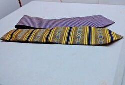 100 Silk 60 Lot Of 2 Neck Ties Blue Yellow Brown
