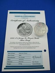 2003 Andpound5 Jersey Sir Francis Drake Silver Proof - The Ships And Explorers -