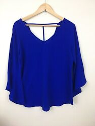 Blue Charming Charlies Bell Sleeve T String Back Shirt Polyester Spandex L