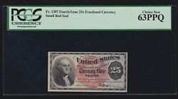 Us 25c Forth Issue Fractional Currency Small Red Seal Fr 1307 Pcgs 63ppq Ch Cu