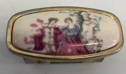 Costume Jewelry Colonial Porcelain Make-up Mirror Lipstick Clip Vintage Japan