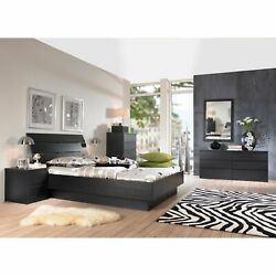 Black 4 Piece Queen Platform Bed Furniture Set Dorm Bedroom Home Living Dresser