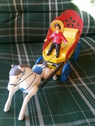 Vintage Country Horse Cart Lady Plastic Toy Red Russia Cccp Batt. Operated 60's
