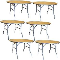 6 Commercial 36 Round Folding Table Event Party Banquet Wooden Dining Table