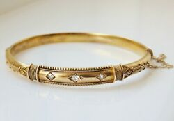 Antique Victorian 15ct Gold Etruscan Revival Diamond Hinged Bangle C1885
