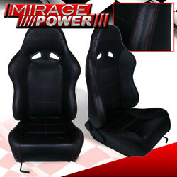 X2 Black Pvc Leather Red Stitching Racing Seats Pair For Vw Golf Jetta Gti