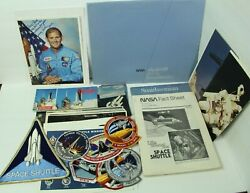 Lot Nasa Space Shuttle Signed Sonny Carter Photo Post Cards Patches Fact Sheet