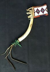 Antique Native American Horsewhip With Beadwork - Blackfoot - 1880 Ca.