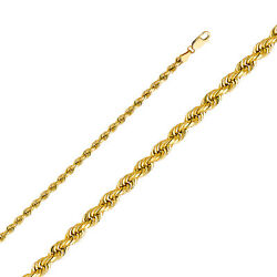 Mens 14k Real Yellow Gold 4mm Solid Rope Diamond Cut Chain / 8- 26and039and039
