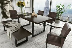 Beautiful Dining Room Set 6 Pc Metal Legs Upholstered Seats Table Chair And Bench
