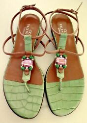 VALENTINO BEJEWELED  FLAT SANDALS STRAPY CLUSTER  JEWELS SIZE 40 12