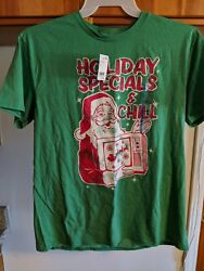 (5D4) Men's Ugly Holiday Specials and Chill Short Sleeve Shirt Green Christmas L