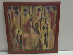 Abstract Modern Original Browns Black And Yellow Signed Canvas Painting