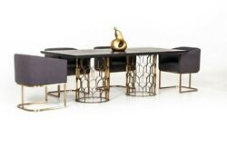 Beautiful Dining Room Set 5 Pc Metal Legs Upholstery Seats Table Fabric Chair