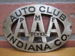 Old Aaa Pmf Penna Auto Club Indiana Co Car Badge License Plate Topper Sign Ad