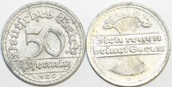 1919 To 1922 Germany Weimar Aluminium 50 Pfennig Various Dates And Mints