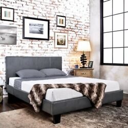 Gray Grey Upholstered Platform Bed Frame Faux Leather Panel Twin Full Queen Size