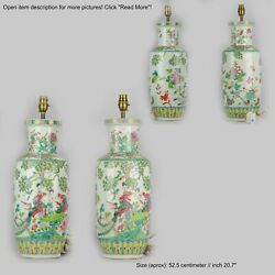 Pair 20th C Chinese Porcelain Vases Proc Lamp Fenghuang Bird Vases Roses...