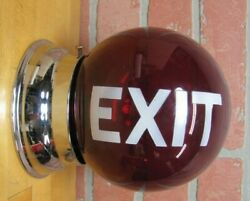 Old Exit Ruby Red Glass Ball Lighted Sign Double Sided Mounted Lamp