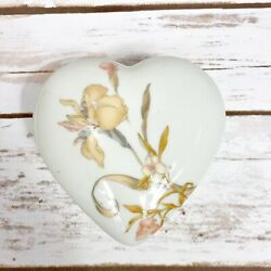 Heart Shaped Fine Chinatrinket Jewelry Box White With French Orchid Japan