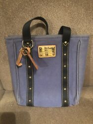 Louis Vuitton Antigua Cabas MM Tote Bag Blue Canvas Leather Used