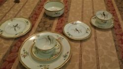 Antique China French Haviland, Service For 12, 7-piece, Peacock Theme.