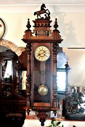 Antique Extra Rare German 8-day Striking Wall Clock With Side Mirrors, 19th C